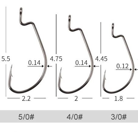 4/0 & 5/0 Weighted Weedless Hook x 3