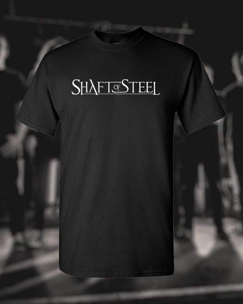 Image of Shaft of Steel Logo Men's T-Shirt - Black