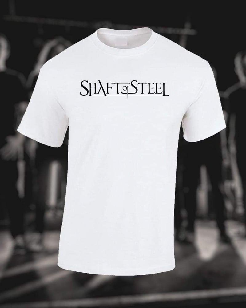 Image of Shaft of Steel Logo Men's T-Shirt - White