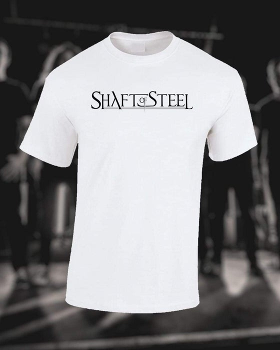 Image of Shaft of Steel Logo Men's T-Shirt - White