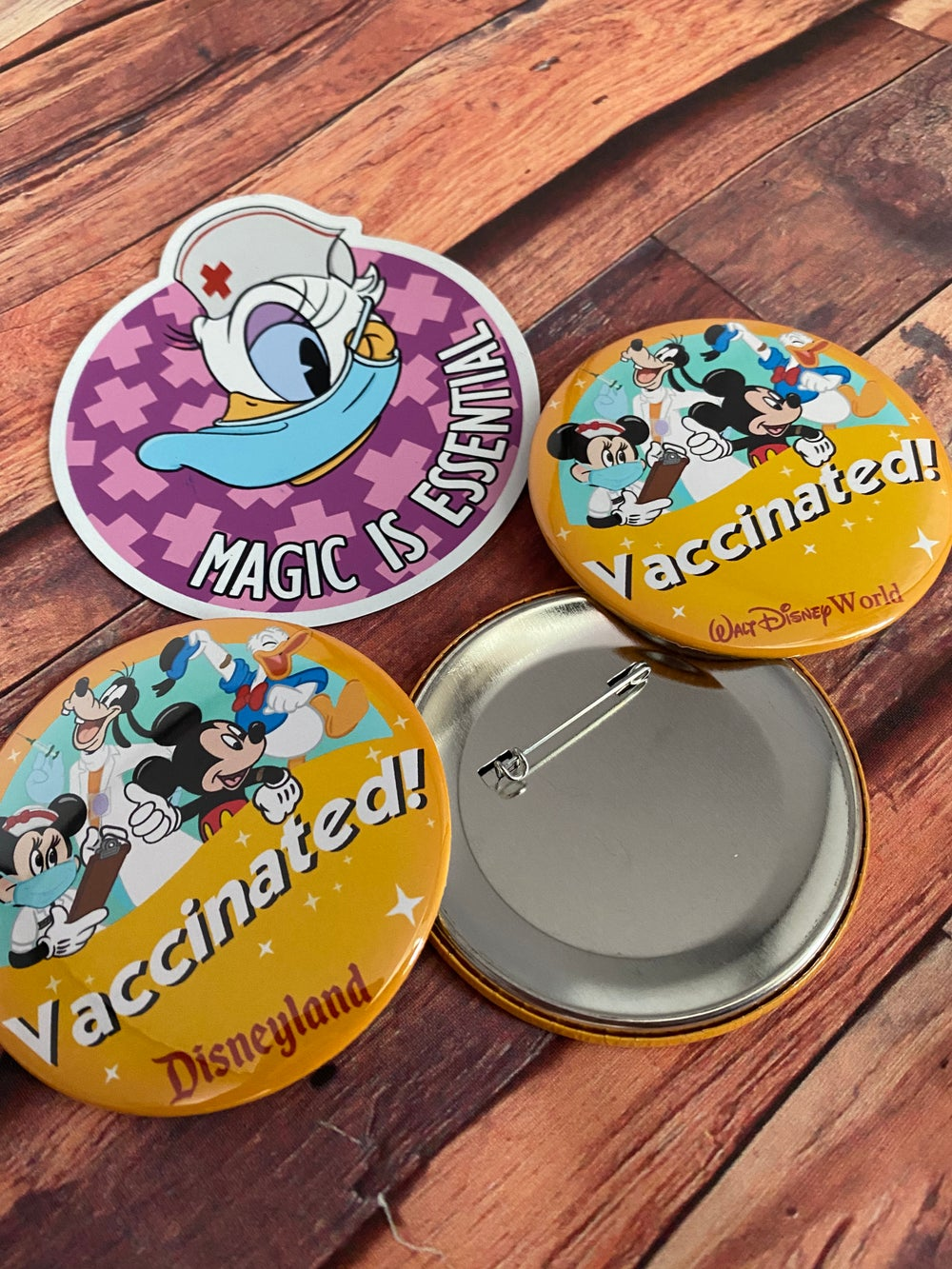 Vaccinated! Parks pinback button