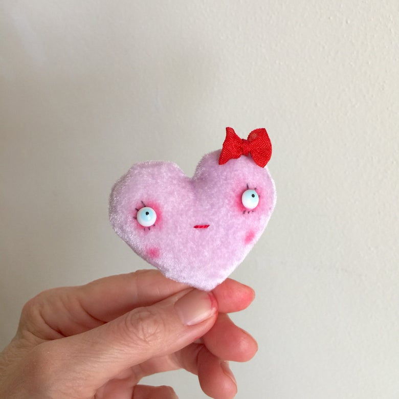 Image of Conversation Heart Pillow in Lavender with LOVE YOU