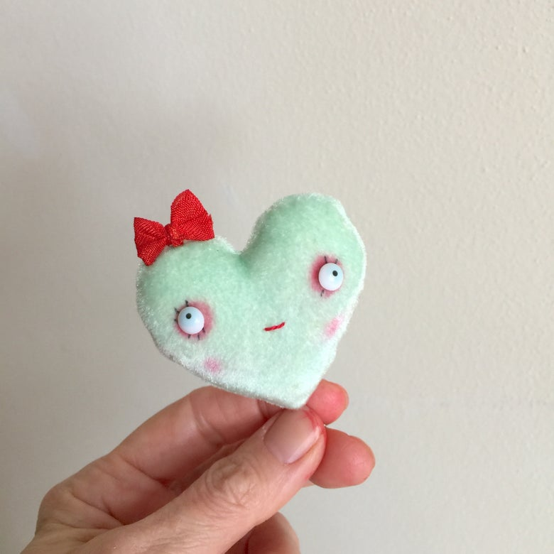 Image of Conversation Heart Pillow in Green with CUTIE PIE