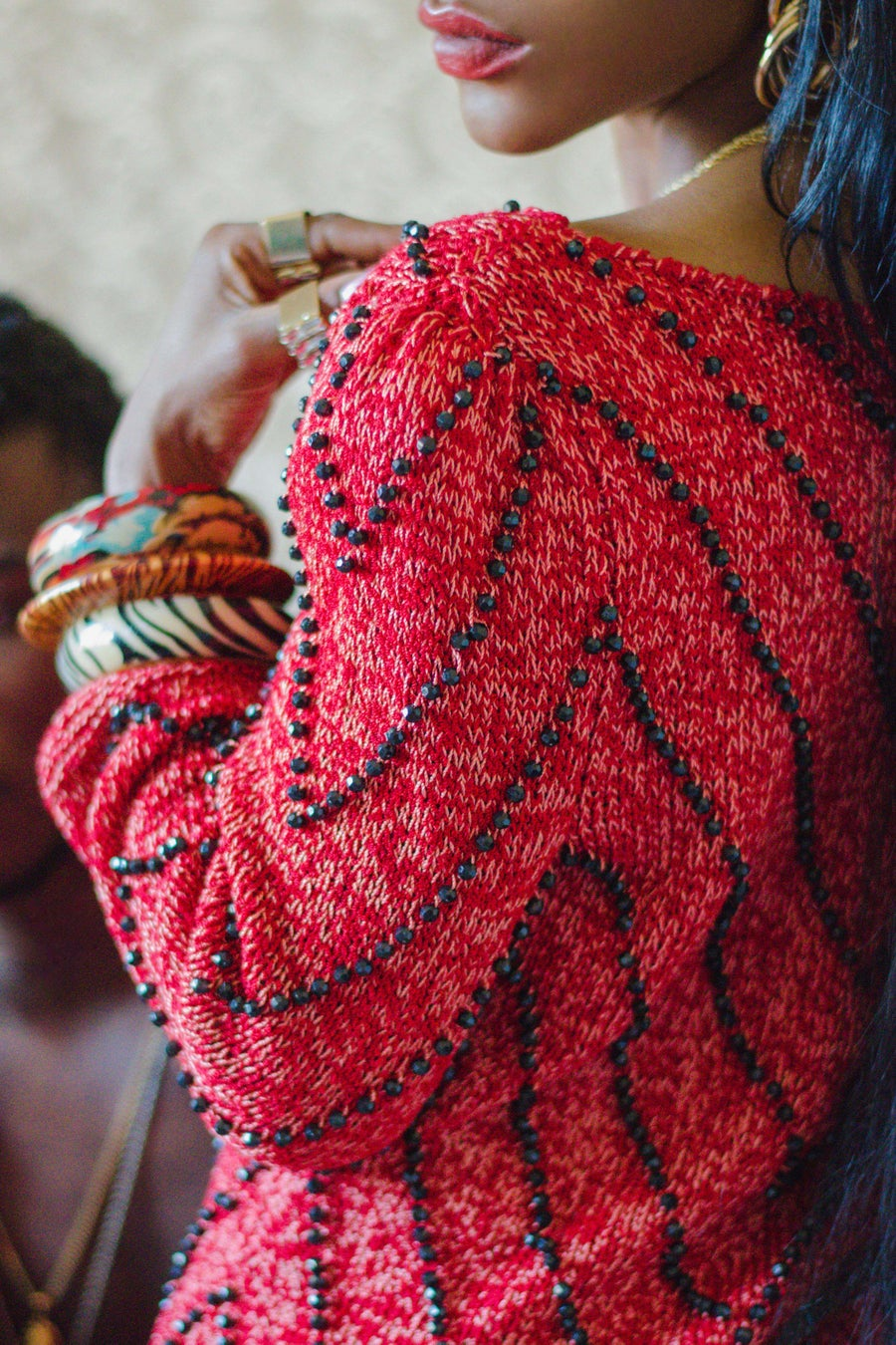 Image of Vintage Gabrielle Chevron Beaded Sweater