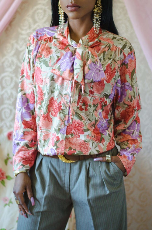 Image of Vintage Myelle Floral Bow Blouse