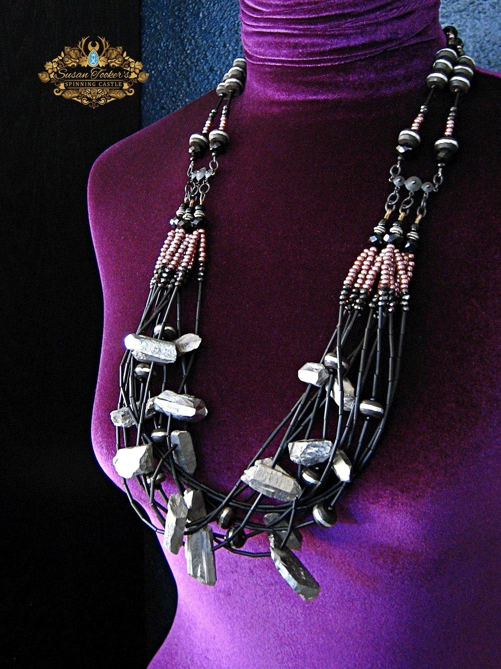 Image of STYX - Silver Aura Quartz Crystal Bib Statement Necklace Greek Goddess Collection