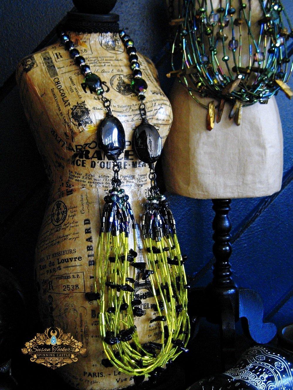 Image of ASTRAEA - Irgusite Tektite Crystal Bib Statement Necklace Greek Goddess Collection