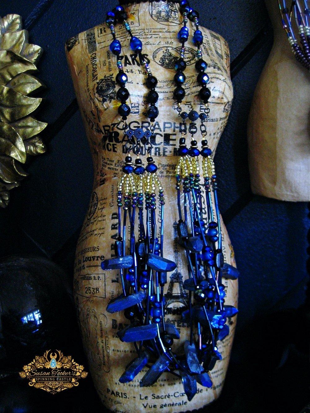 Image of ELECTRA - Cobalt Blue Aura Quartz Bib Statement Necklace Greek Goddess Collection