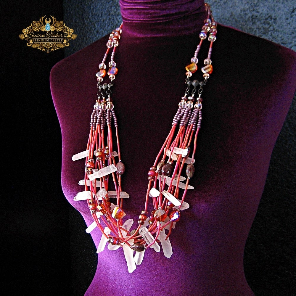 Image of EOS - Frosted Quartz Crystal  Pink Tourmaline Bib Statement Necklace Greek Goddess Collection