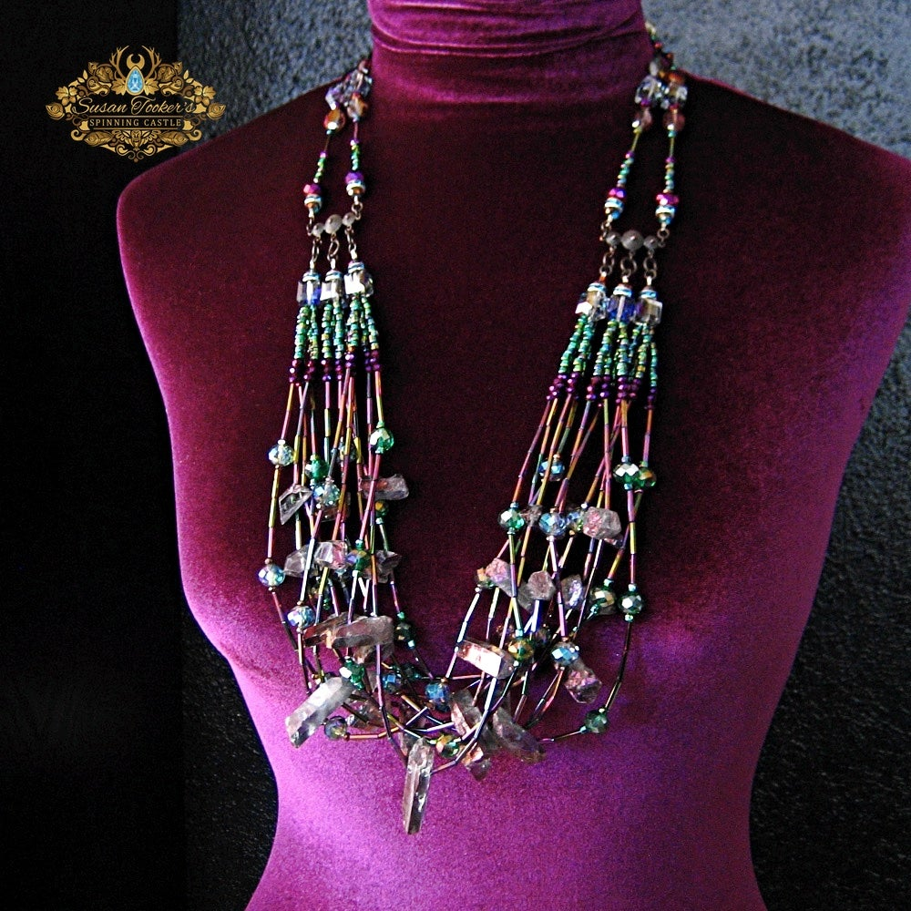 Image of IRIS - Titanium Purple Rainbow Aura Quartz Bib Statement Necklace Greek Goddess Collection