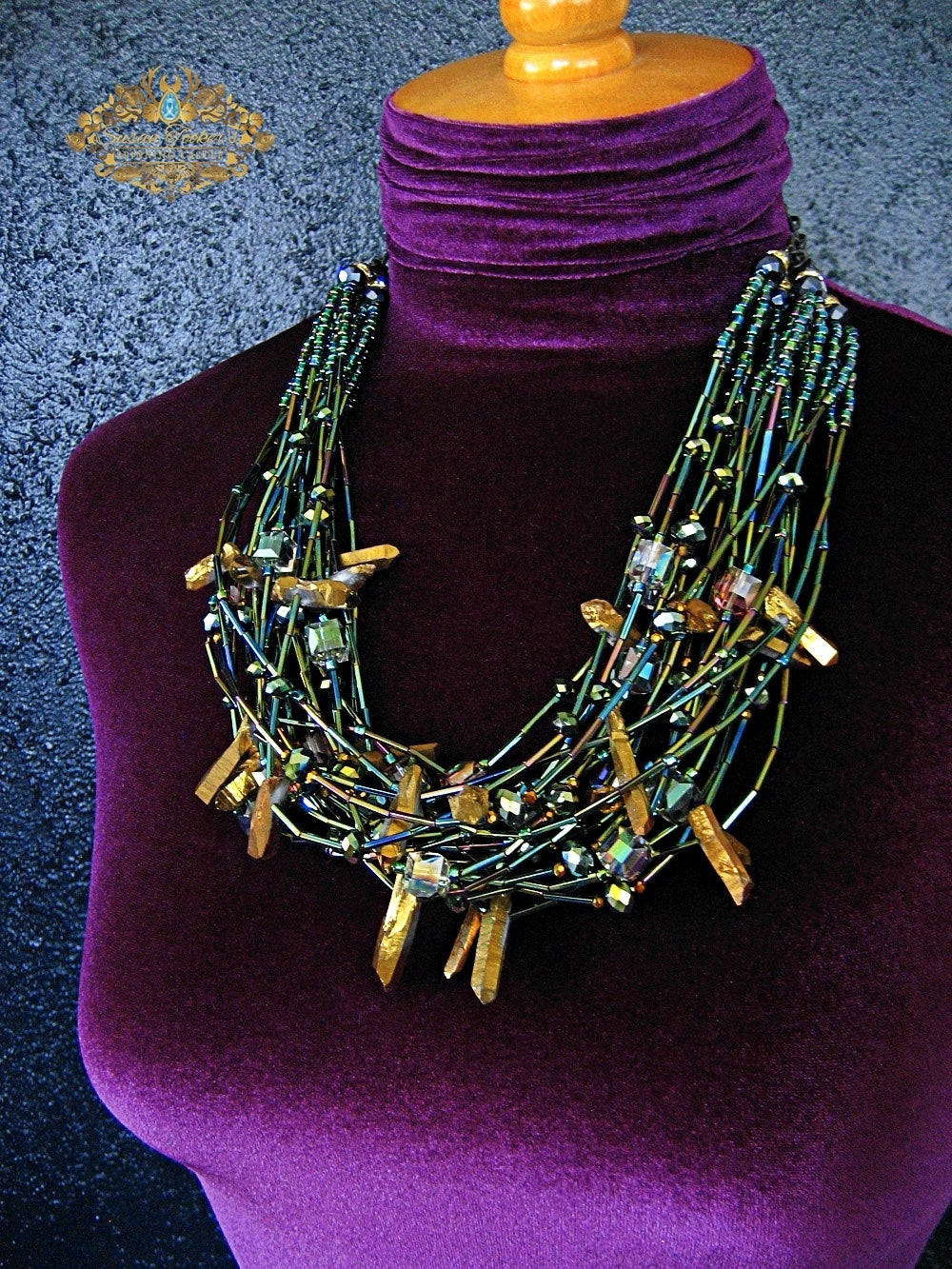 Image of CALYPSO - Gold Aura Quartz Crystal Statement Necklace Greek Goddess Collection