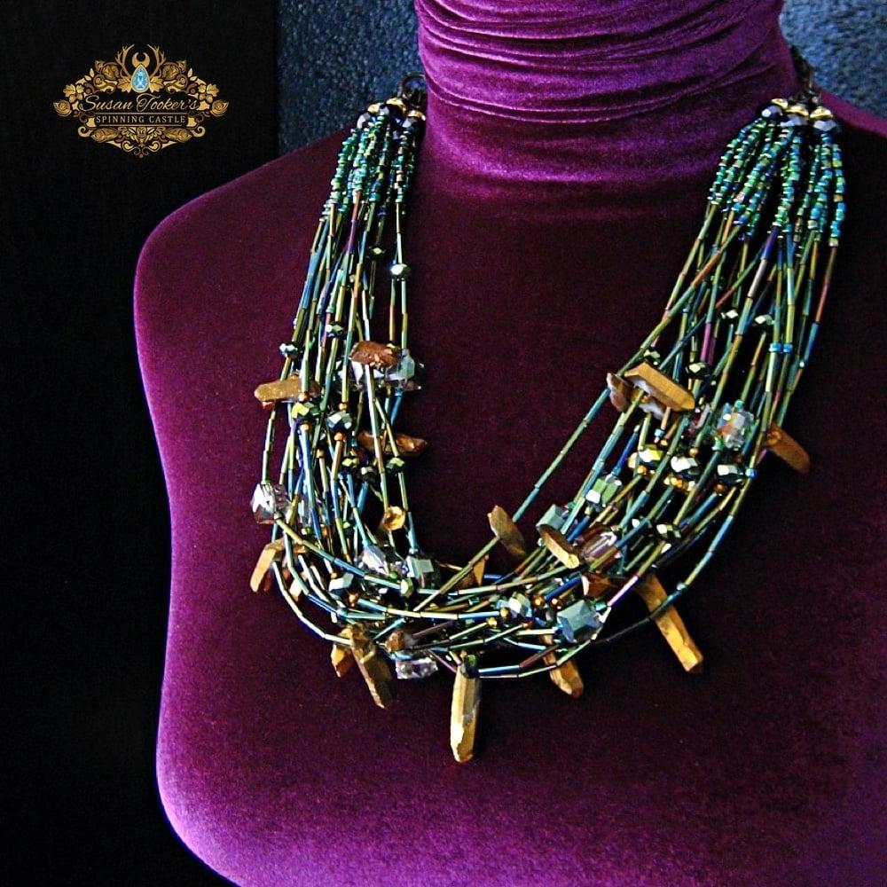 Image of CALYPSO - Gold Aura Quartz Crystal Statement Necklace Greek Goddess Collection