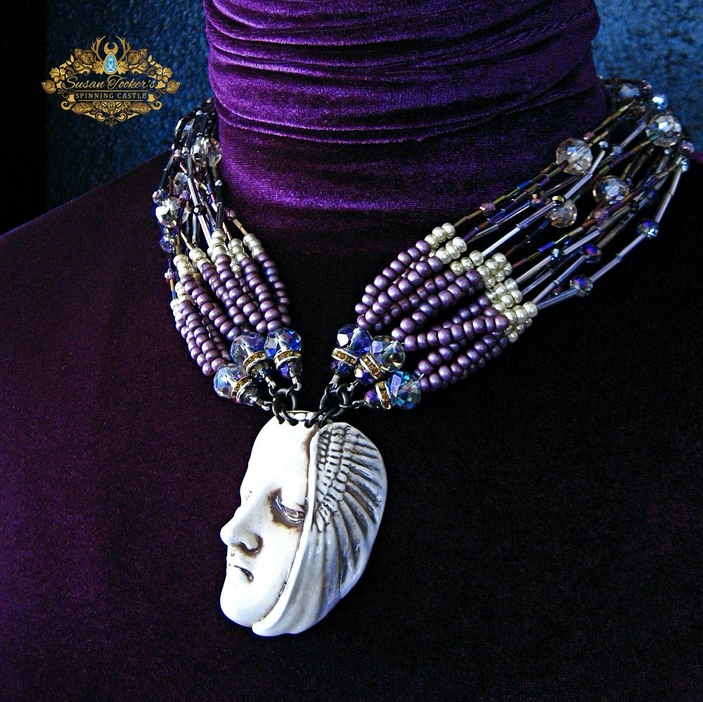 Image of APHRODITE - Porcelain Face Wing Pendant Statement Necklace Greek Goddess Collection