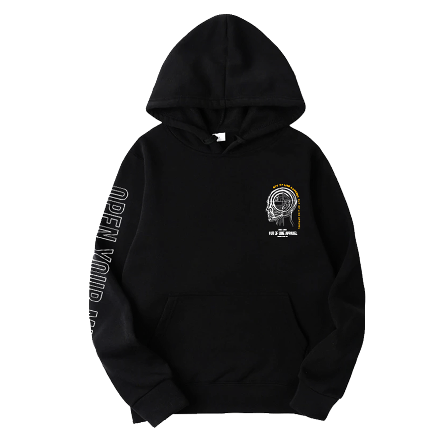 """Image of """"OPEN YOUR MIND"""" BLACK HOODIE"""