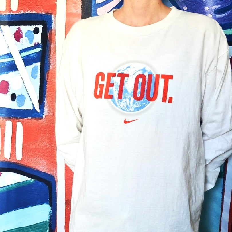 """Image of Vintage 2000's Nike Air """"Get Out"""" Long Sleeve T-Shirt Sz.M"""