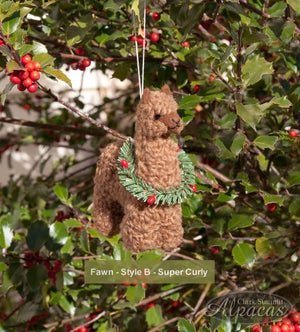 Alpaca Holiday Ornament with Wreath or Santa Hat - Little Llama Christmas Decor