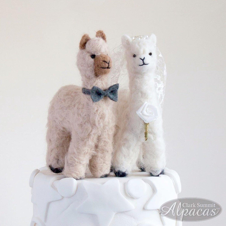 Little Llama Customized Cake Topper - Alpaca Bride and Groom - Unique Wedding Keepsake - Real Fiber