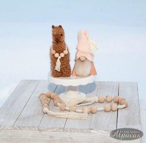 Alpaca or Gnome Spring Farmhouse Tiered Tray Decor - Mini Llama Boho Decor - Real Alpaca Fiber