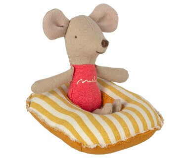 Image of Maileg - Rubber Boat Small Mouse Yellow Stripe (Pre-order)