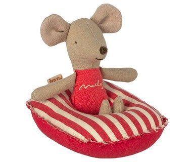 Image of Maileg - Rubber Boat Small Mouse Red Stripe (Pre-order)