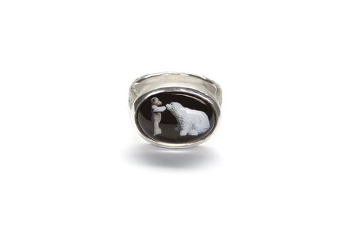 """Image of """"Good of you to come"""" teddy-bear's silver ring with photo and rock crystal  · BENE FACTUM.. ·"""
