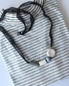Bead Necklace  - silk ribbon