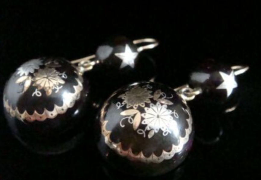 Image of ORIGINAL VERY LARGE VICTORIAN 9CT YELLOW GOLD PIQUE STAR INLAID EARRINGS