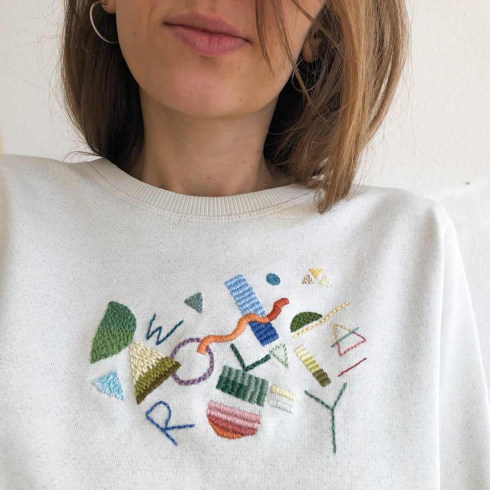 Image of Work Play - hand embroidered organic cotton sweatshirt, One of a kind