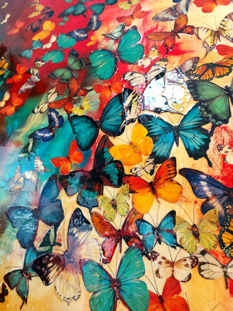 "Image of Original Canvas - Butterflies on Crimson with Blues/Ochre - 36"" x 60"""