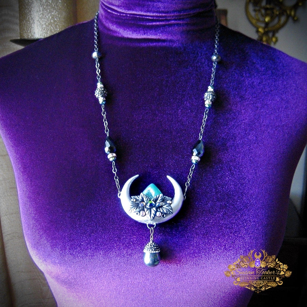 Image of MOON GODDESS - Crescent Moon Quartz Crystal Rhinestone Nead Necklace Witchy Jewelry