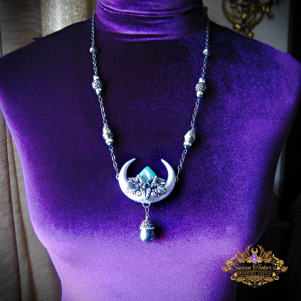 Image of MOON GODDESS - Crescent Moon Quartz Crystal Rhinestone Nead Necklace Witchy Jewelry