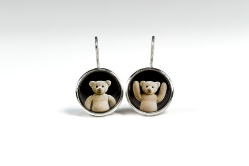 """Image of """"Where you are, there.."""" teddy-bears silver earrings with photos, rock crystal  · UBI TU, IBI.. ·"""