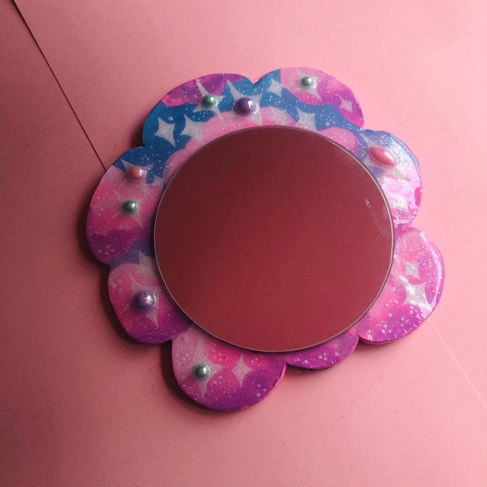 Image of Sparkly Sky Cloud - Hand-Painted Hand Mirror