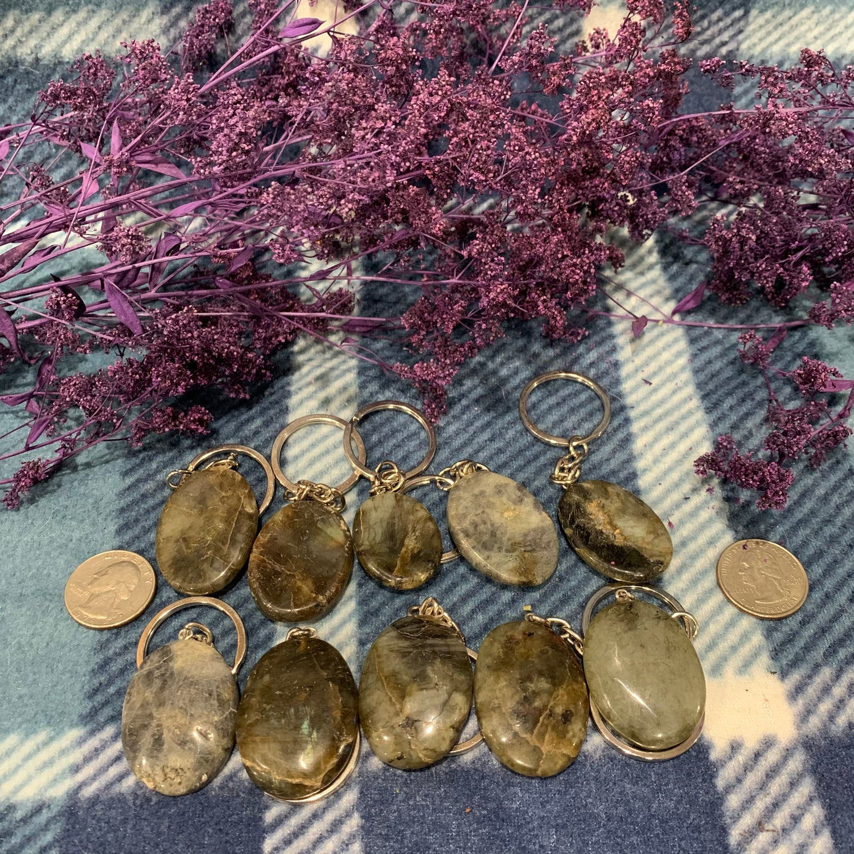 Labradorite Worry Stone Silver Keychain