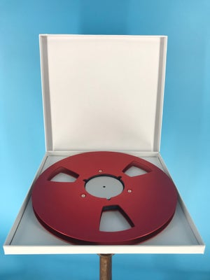 "Image of Burlington Recording 1/2"" x 10.5"" RED NAB Aluminum Metal Reel with White Hinged Set up Box NEW"