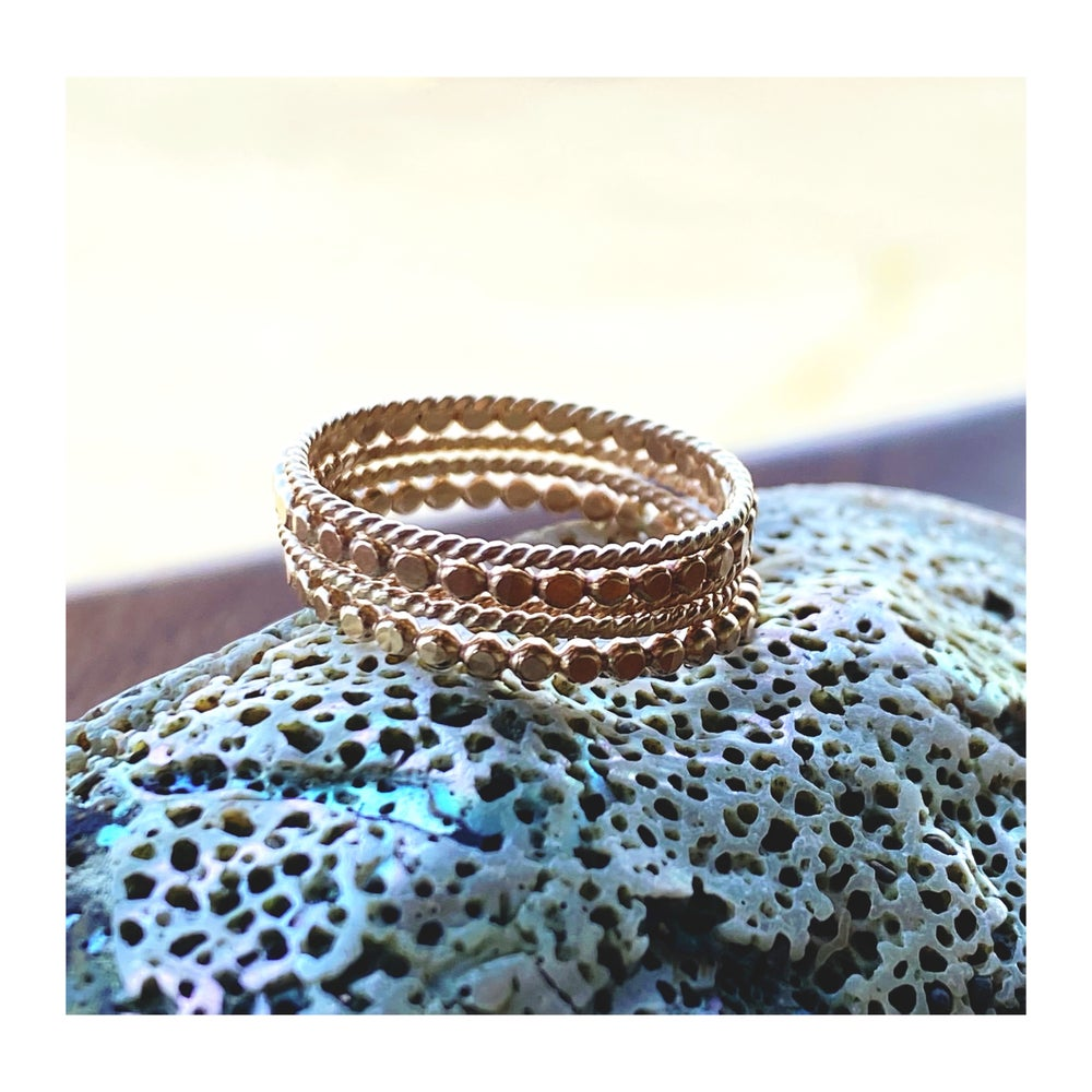 Image of Assorted 14k. GF Stack of 5 ~ Sz. 9