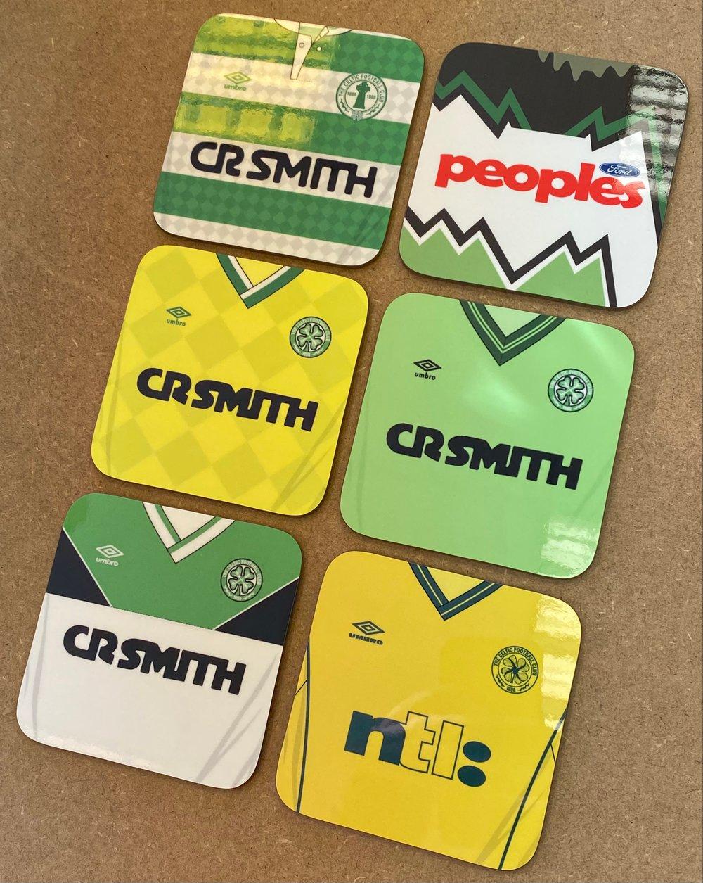 6 pack Celtic Retro Jersey Coasters
