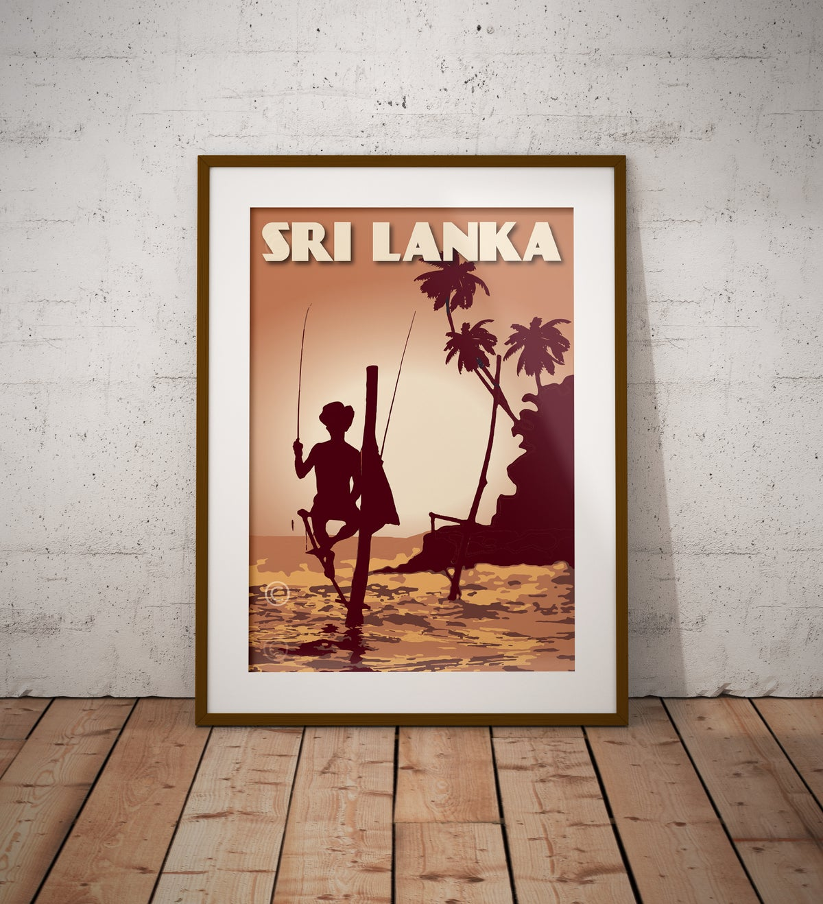 Image of Vintage Poster Sri Lanka - Fisherman on Stilt - Yellow - Fine Art Print