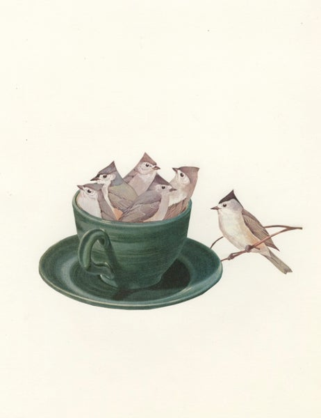 Image of Titmouse Tea. Limited edition collage print.