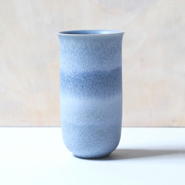 Image of FLARED UNIKA VASE IN FROSTED LIGHT BLUE GLAZE