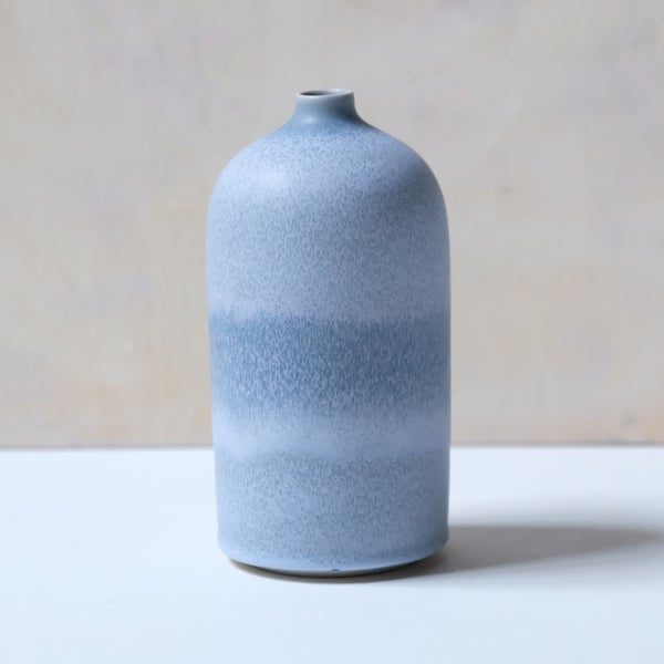 Image of UNIKA BOTTLE IN FROSTED LIGHT BLUE GLAZE