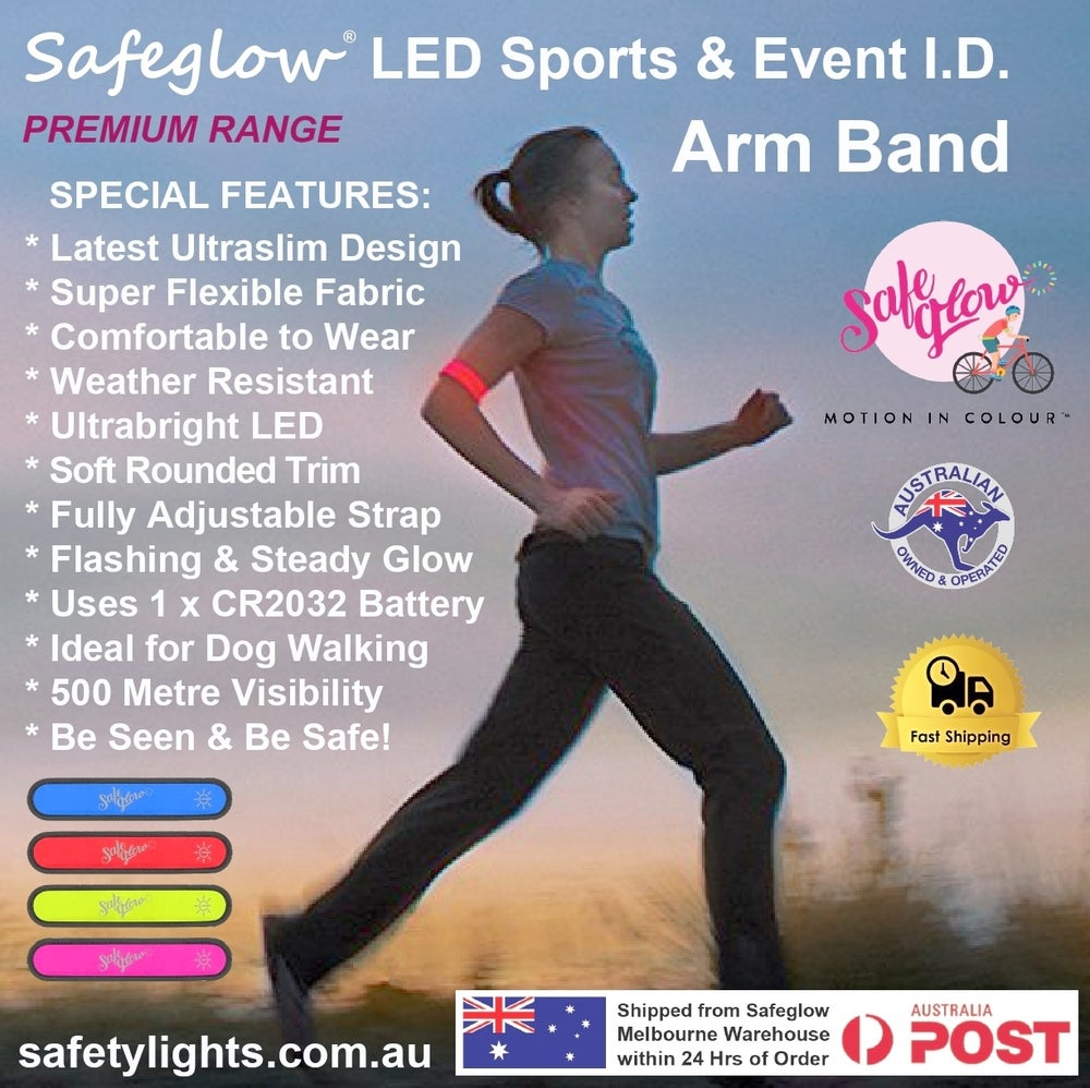 Image of Safeglow® Super-Bright LED Running and Cycling Arm Band. Twin Pack only $19.95.