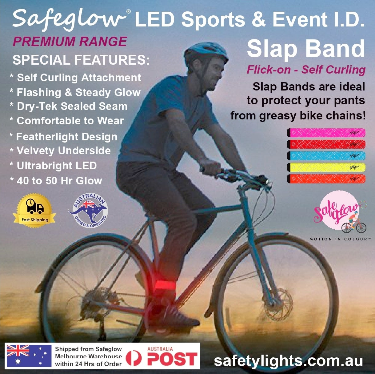 Image of SAFEGLOW® Premium Illuminated LED Slap Band / Bicycle Clip. Safety for Couriers