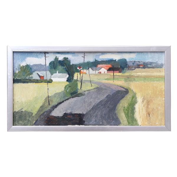Image of Mid Century Oil Painting, 'Towards the Village' John Boren