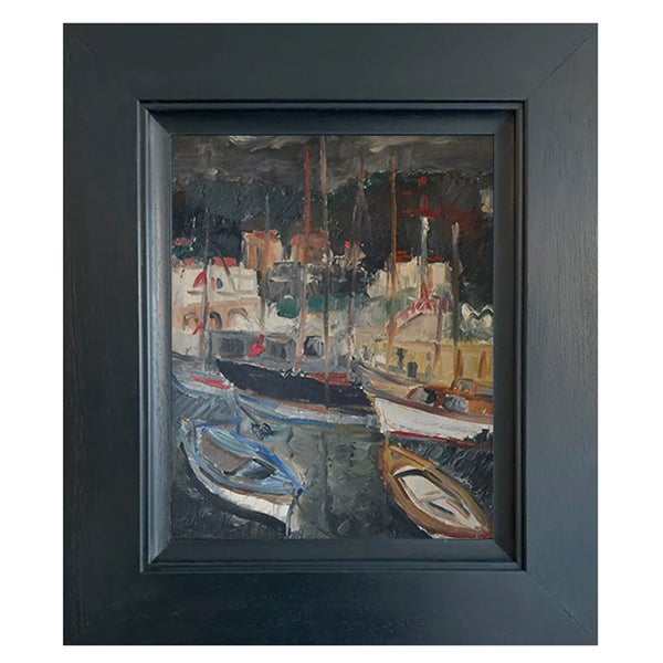 Image of Mid-Century, French, Oil Painting 'Harbour'