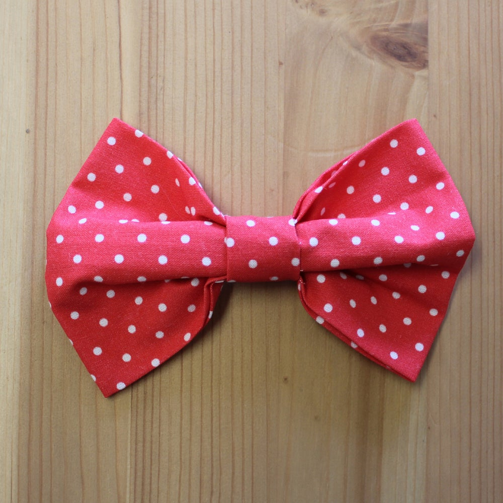 Image of Red polka dot bow tie
