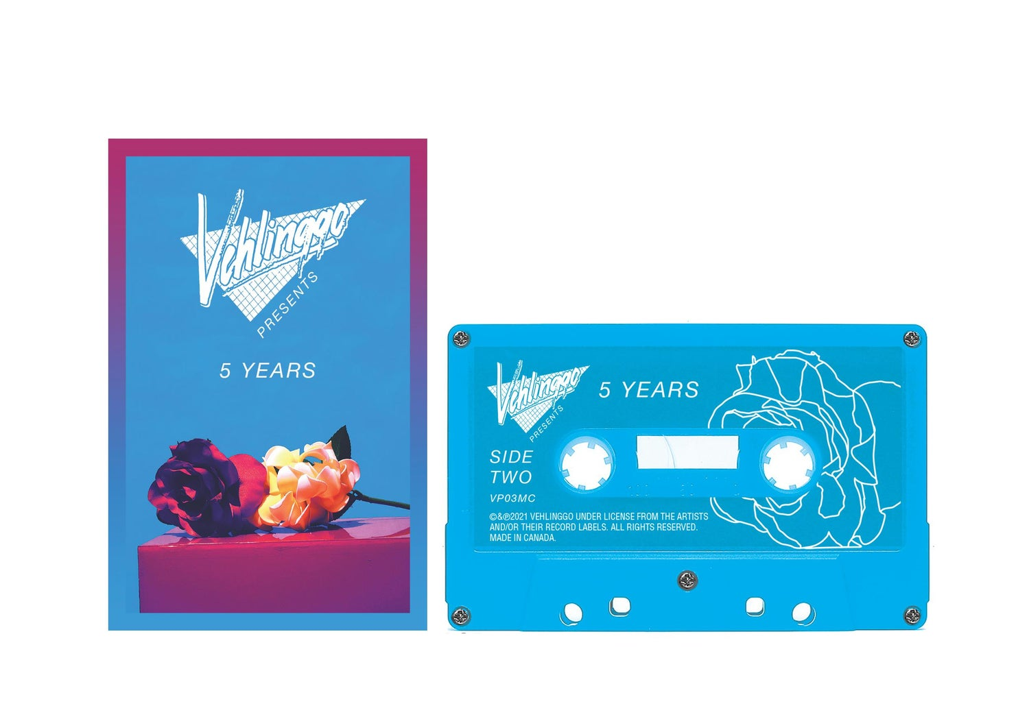 Image of 'Vehlinggo Presents: 5 Years' Aqua Blue Cassette Tape (25 copies)