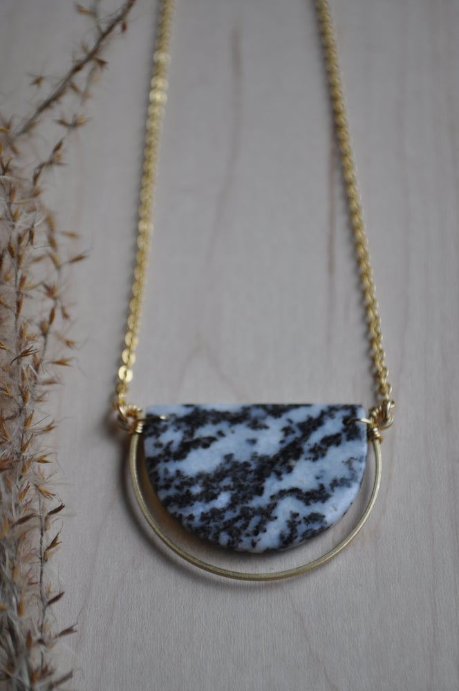 Image of OOAK Zebra Jasper Semi Circle Necklace