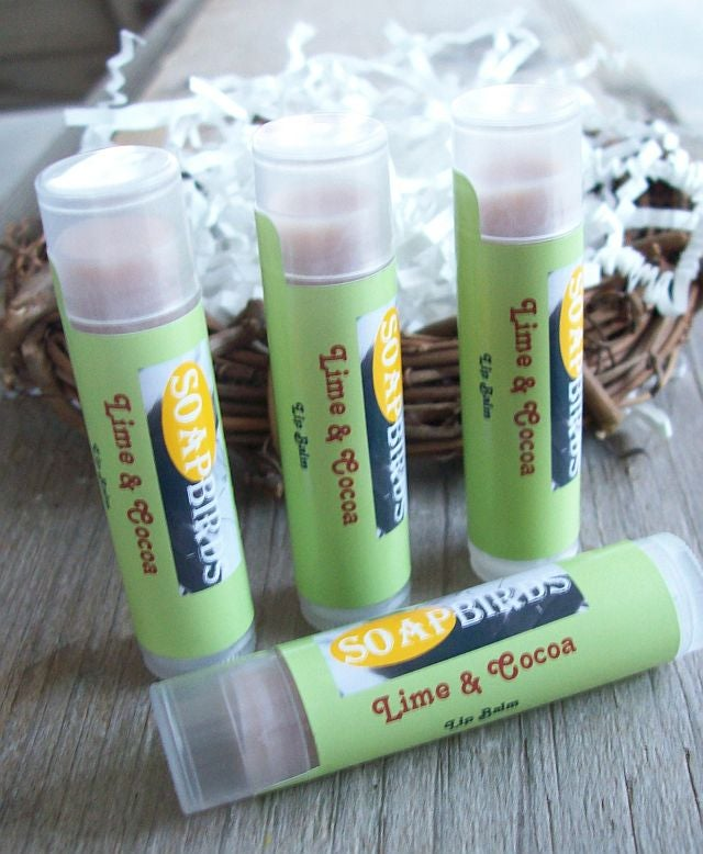 Image of ALL Natural Lip Balm-Lime and Cocoa-Sweet Beaks Collection-Rich Lip Protectant