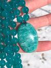 Ice Amazonite Mala with Amazonite Pendant, Amazonite 108 Beads Japa Mala
